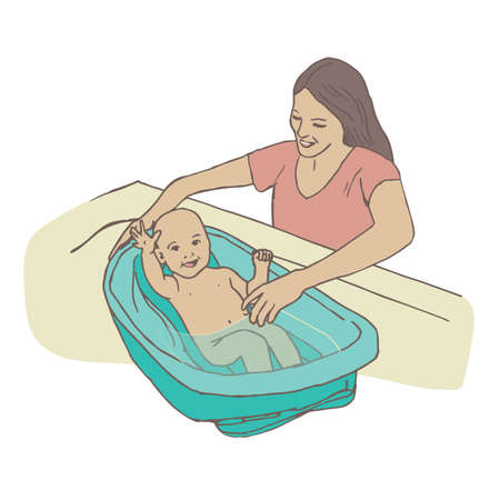 baby and mother: A Realistic Sweet Hispanic or White Newborn Being Bathed by his Ethnic, Latino, or White Mother in a Baby Washing BathTub.  The Baby is Laughing and Happy to Get Clean and the Mom is Gentle.