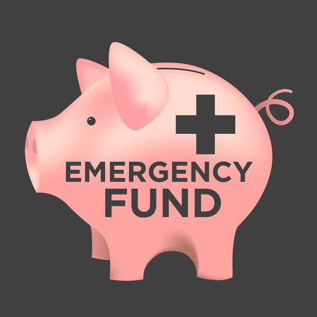 action fund: Financial Emergency Fund Piggy Bank to Protect from Home, House, Car or Vehicle Damage, Job Loss or Unemployment, and Hospital or Medical Bills Illustration