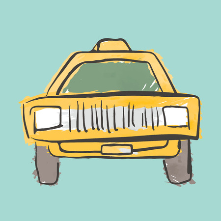 yellow taxi: Hand Drawn Yellow Taxi Car Automobile