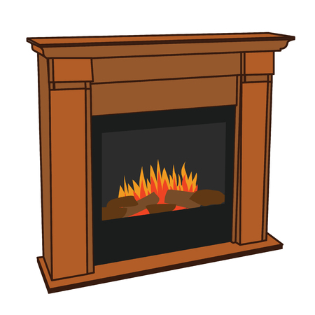 gas fireplace: Realistic Wooden Electric Artificial Fireplace with Orange and Yellow Fire Flame Interior w Fake Firewood for the Environment Conscious Lumbersexual Man or Hipster to Keep Warm in his Manly Man Cave