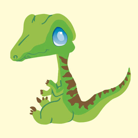 raptor: Baby Raptor, Velociraptor, or T-Rex from the Jurassic Period Just Hatched from an Egg. Illustration
