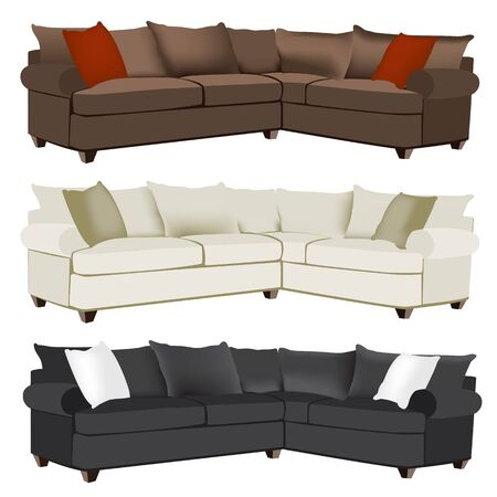 upmarket: Modern or Contemporary Red, White, Black, or Cream Microfiber or Leather Sectional Sofa Tastefully Decorated with Contrasting Pillows Illustration