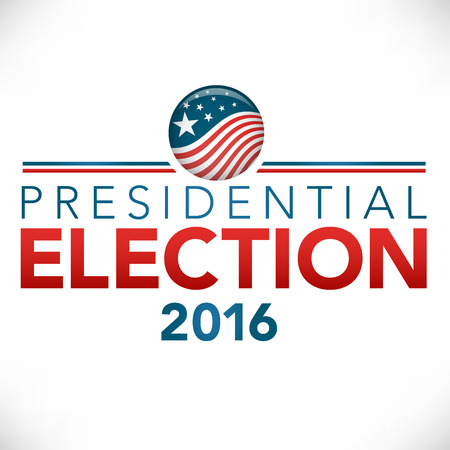 Presidential Election 2016 : Retro or Vintage Style Vote 16  with Pin Button or Badge.  Use this banner on infographics, blog headers, flyers, or web pages. Illustration