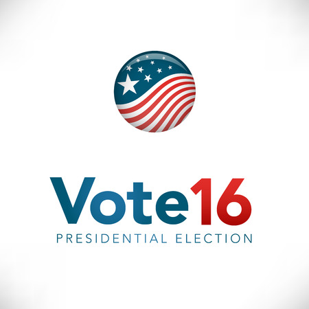 election: Vote 16  : Retro or Vintage Style Presidential Election with Pin Button or Badge.  Use this banner on infographics, blog headers, flyers, or web pages.