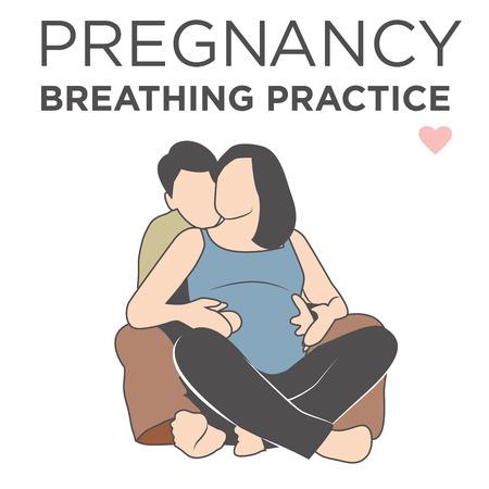 妊娠中の妻学習彼女呼吸リラクゼーション テクニック、彼女の夫によって助けられています。