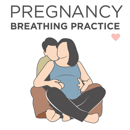 Pregnant Wife Learning Her Breathing Relaxation Techniques While being Helped by Her Husband