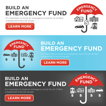 medical bills: Financial Emergency Fund Icons with Umbrella - Home or House, Car or Vehicle Damage, Job Loss or Unemployment, and Hospital or Medical Bills Illustration