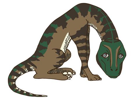 Cute Baby Velociraptor or Raptor Dinosaur Feeling Regretful after Destroying His Masters Stuff. Illustration