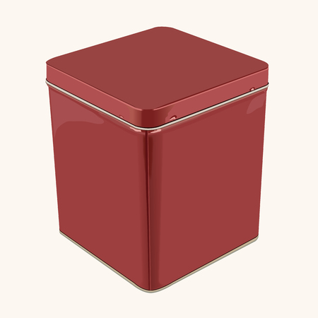 tin: 3D Vector Red Square or Rectangular Stainless Steel Popcorn Tin Box