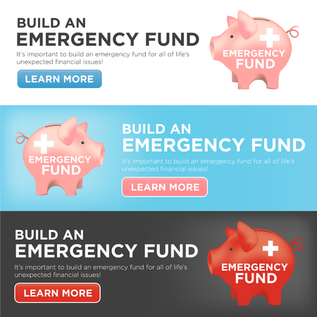 disaster relief: Financial Emergency Fund Piggy Bank Banners to Protect from Home, House, Car or Vehicle Damage, Job Loss or Unemployment, and Hospital or Medical Bills Illustration