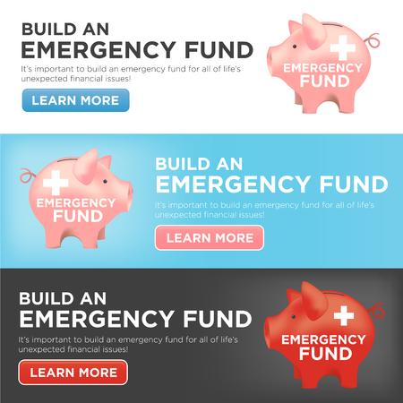 emergencia: Financieros del Fondo de Emergencia hucha Banderas de protección contra su hogar, casa, coche o daños al vehículo, pérdida del empleo o desempleo, y el hospital o las facturas médicas