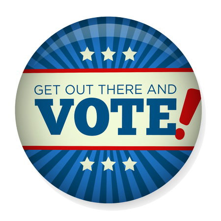 Get Out There and Vote : Retro or Vintage Style Vote 16 Presidential Election with Pin Button or Badge.  Use this banner on infographics, blog headers, flyers, or web pages. Stock Illustratie