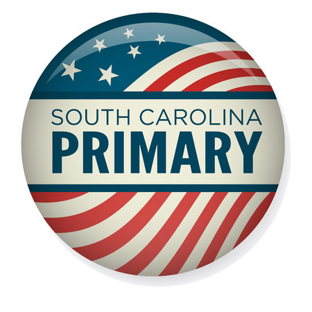 South Carolina Primary : Retro or Vintage Style Vote 16 Presidential Election with Pin Button or Badge.  Use this banner on infographics, blog headers, flyers, or web pages.