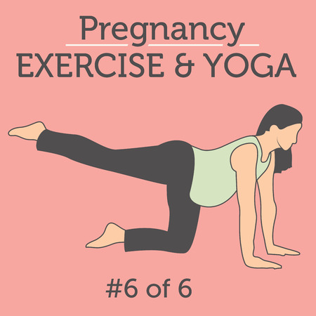 uncomfortable: Pregnant Woman in the Expecting Stages of Birth Stretching or Exercising with Breathing, Exercise and Yoga Methods.  Stretches and Light Weight Aerobics or Exercise Methods Help You Have Strong and Nice Baby. Illustration