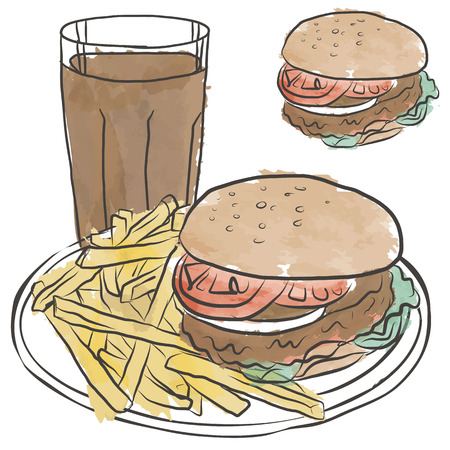 hamburger and fries: Hamburger Fries and Cola From Fast Food Diet Causes Bad Weight Gain.
