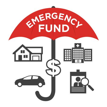 Iconos financieros fondo de emergencia con el paraguas - Casa o casa, coche o daños al vehículo, la pérdida de trabajo o desempleo, y el hospital o cuentas médicas