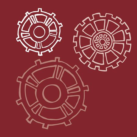 varying: Hand Drawn Gears with Varying Opacity
