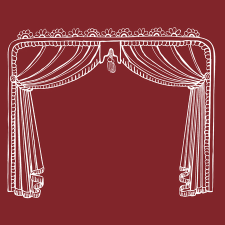 Hand Drawn Theater Stage Curtain - Get Your Performance On! Vectores