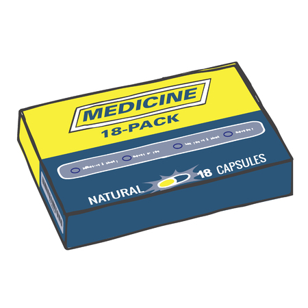 strong box: Medication Box for when you Get Hurt or Sick on the Job or Have Back Pain or Even a Simple Headache. The Capsules, Gel Tabs, or Tablets will Make Feel Healthy and Strong. The Drug Relieves Pain! Illustration