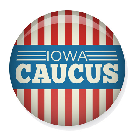 Iowa Caucus: Retro or Vintage Style Vote 2016 Presidential Election with Pin Button or Badge.  Use this banner on infographics, blog headers, flyers, or web pages.