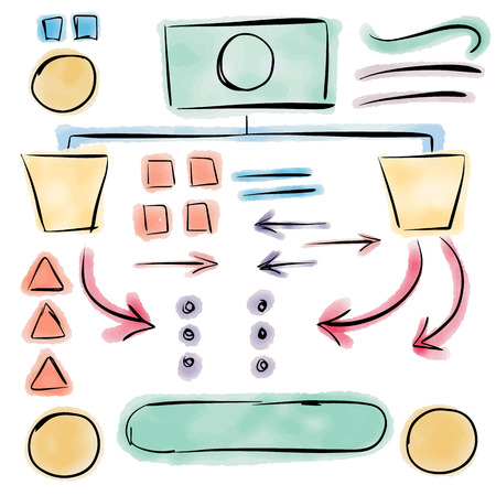 decision: Decision Tree Graphic Elements with Hand Drawn Speech Bubbles and Arrows for Organized Workflow Plan Illustration