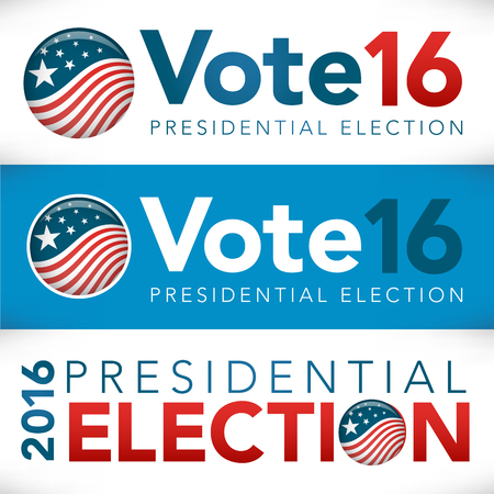 Retro or Vintage Style Vote 16 Presidential Election with Pin Button or Badge.  Use this banner on infographics, blog headers, flyers, or web pages.