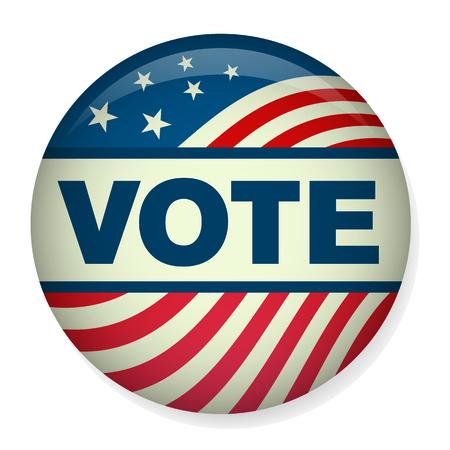 Voto 16 Elección Presidencial retro o estilo de la vendimia con el Pin del botón o insignia. Utilice esta bandera en la infografía, los encabezados de blogs, folletos o páginas web. Ilustración de vector