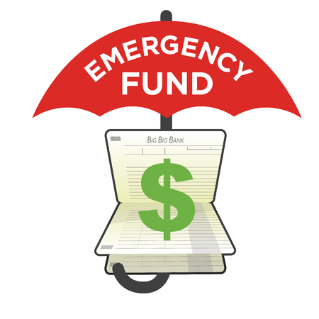 Financial Emergency Fund Piggy Bank to Protect from Home, House, Car or Vehicle Damage, Job Loss or Unemployment, and Hospital or Medical Bills Ilustração