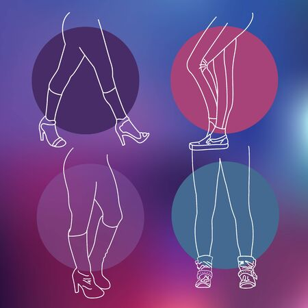 nightwear: Yoga pants and shoes for women to wear in every day life Illustration
