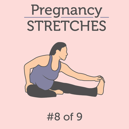 Pregnant Woman in the Expecting Stages of Birth Stretching or Exercising with Breathing, Exercise and Yoga Methods.  Stretches and Light Weight Aerobics or Exercise Methods Help You Have Strong and Nice Baby. Ilustração