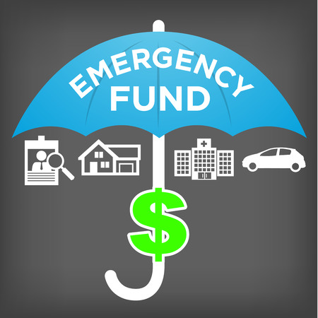 financial emergency: Financial Emergency Fund Icons with Umbrella - Home or House, Car or Vehicle Damage, Job Loss or Unemployment, and Hospital or Medical Bills Illustration