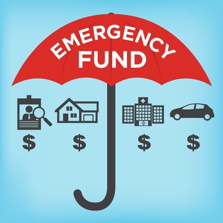 disaster: Financial Emergency Fund Icons with Umbrella - Home or House, Car or Vehicle Damage, Job Loss or Unemployment, and Hospital or Medical Bills Illustration
