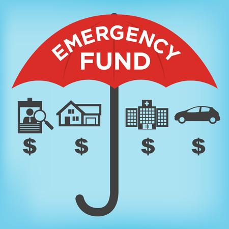 emergencia: Iconos financieros fondo de emergencia con el paraguas - Casa o casa, coche o daños al vehículo, la pérdida de trabajo o desempleo, y el hospital o cuentas médicas