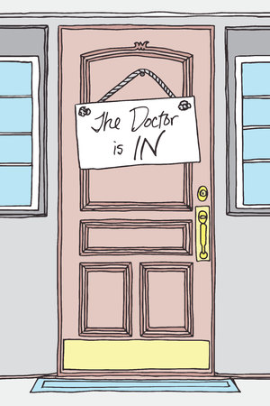 dying: Hand Drawn The Doctor is IN! Sign on a Doctors Office Hardwood, Plastic, or Upscale Door.  Sick and Dying Patients can Get Help at this Doctors Office Illustration
