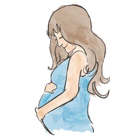 cradling: Cute Pregnant Lady with her Hand Cradling Her Baby Illustration