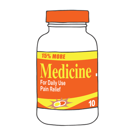 reliever: Medication Bottle for when you Get Hurt or Sick on the Job or Have Back Pain or Even a Simple Headache. The Capsules, Gel Tabs, or Tablets will Make Feel Healthy and Strong. The Drug Relieves Pain!