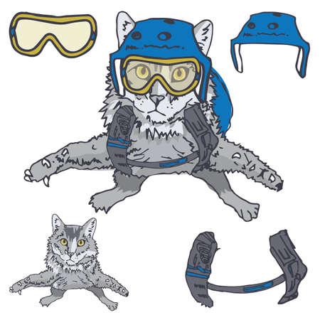 fallschirm: Ver�ngstigt Innen aber Nonchalant Schauspielern, hat diese Kitty die Parachuting oder Skydiving Game Face Perfektioniert.