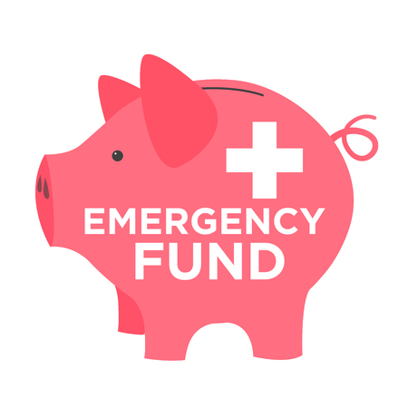 disaster relief: Financial Emergency Fund Piggy Bank to Protect from Home, House, Car or Vehicle Damage, Job Loss or Unemployment, and Hospital or Medical Bills Illustration