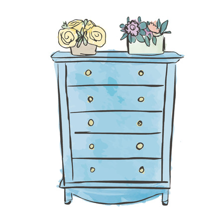 piece of furniture: Homely Home Sweet Home Watercolor Chest of Drawers with Beautiful Flower Pots on There