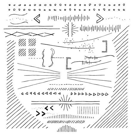 boceto: Dibujados a mano de los Doodads y dibujos y elementos. Ponga estos en su infograf�a y certificados.