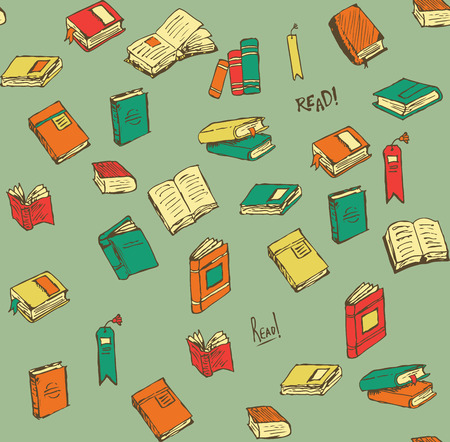 a literary sketch: Hand-drawn Book and Accessories Icons and Seamless Pattern. There is a Plethora of Books in Varied States of Reading Completion.  Many Bookmarks & Books Floating in Space Like the Thoughts of Readers. Illustration