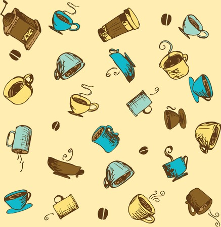 trade fair: Hand-drawn Small Batch or Fair Trade Coffee  and Accessories Sketchy Icons and Seamless Pattern.  Images of Caffeine Fueled Dreams Swirl in Your Head as you Imagine Consuming the Artisan Roasted Beans