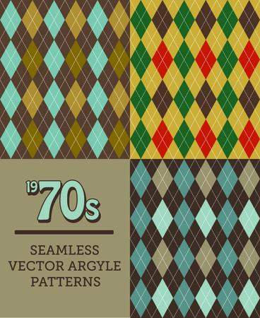 argyle: Three Retro 1970s-style Seamless Argyle Patterns Illustration