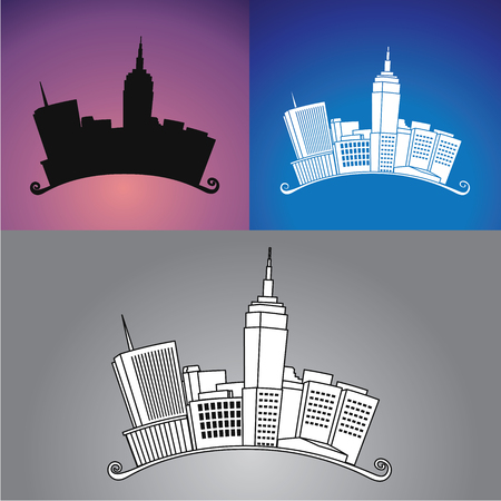 scraper: New York City Arched Drawing and Silhouette Illustration