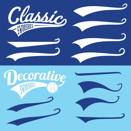 Vector Swooshes Swishes, Swooshes, and Swashes for Typography on Retro Baseball Tail Tshirt