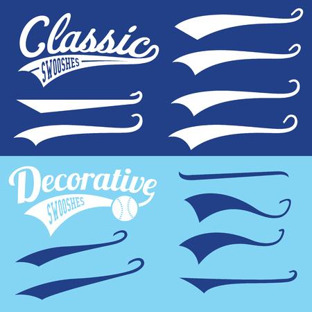 Vector Swooshes Swishes, Swooshes und Swashes für Typografie auf Retro Baseball-Schwanz-T-Shirt Standard-Bild - 54854577