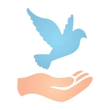 donation drive: Hand with Dove Peace Donation Charity Icon