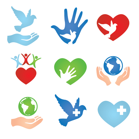 donation drive: Nine Peace Donation Charity Icons