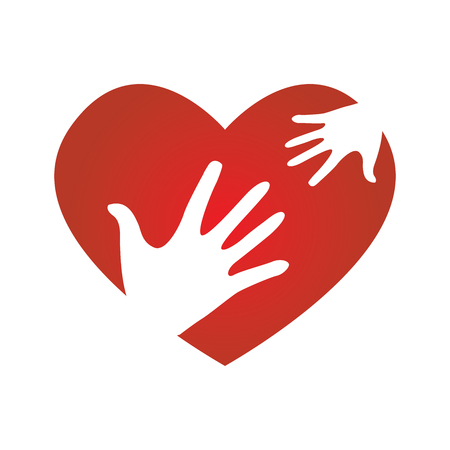 charity drive: Heart with Child and Adult Symbols Peace Donation Charity Icon