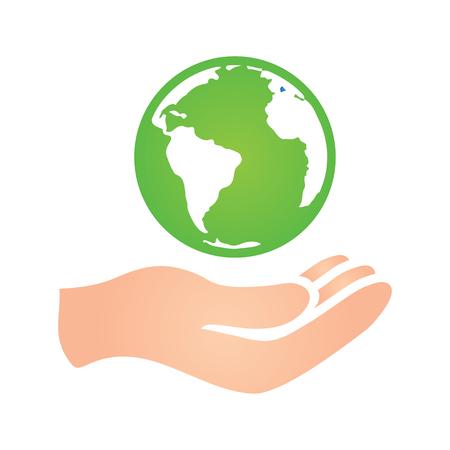 simbolo medicina: Mundo con la mano Icono Donación de Caridad Paz Vectores
